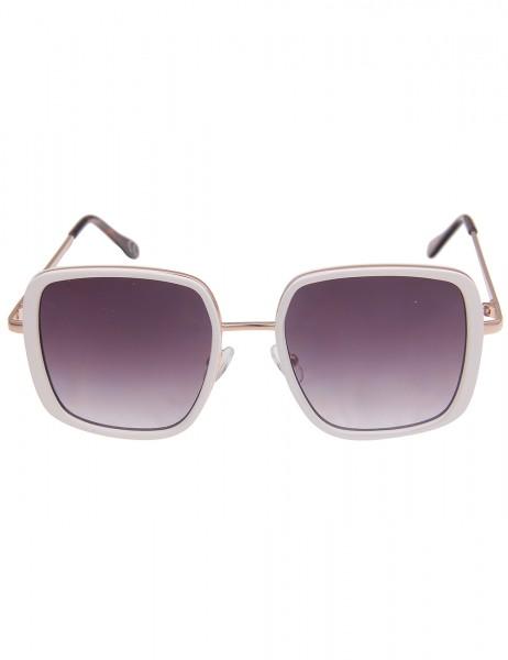 Leslii Sonnenbrille Damen Square-Look weiße Designerbrille eckige Statement-Brille Sunglasses Metall
