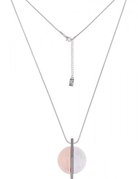Leslii Damenkette Farben Trio aus Metalllegierung Länge 82cm in Silber Rosé Matt Hochglanz