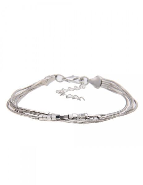 Leslii Damen-Armband Mini Würfel Silber 18cm + Verlängerung 210116084