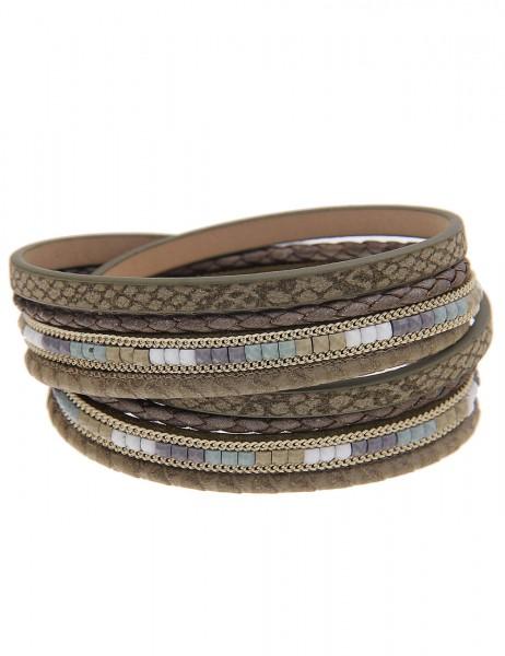 -70% SALE Leslii Wickel-Armband Happiness Oliv-Grün | Damen-Armband Mode-Schmuck | Länge: 39,5cm + M