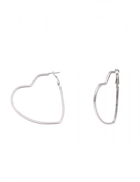 Leslii Damen-Ohrringe Herz-Creolen Silber Metalllegierung Länge 5,5cm 230116599
