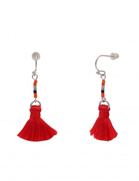 Leslii 4teen Damenohrringe Ohrhänger Tassel aus Metalllegierung mit Textil Länge 5cm in Rot Silber