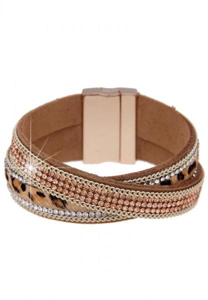 Armband Magnet Wild Leo Gold Braun
