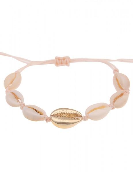 Leslii Damenarmband Muschel Muschelschmuck Sommer Strand Modeschmuck-Armband Länge 19cm in Beige Gol