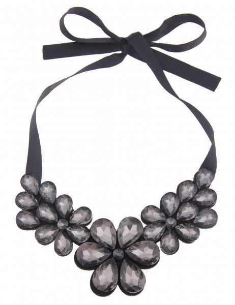 Leslii Damen-Kette Statement Blüten Schwarz Grau Filz Glassteine 40cm verstellbar 210216602