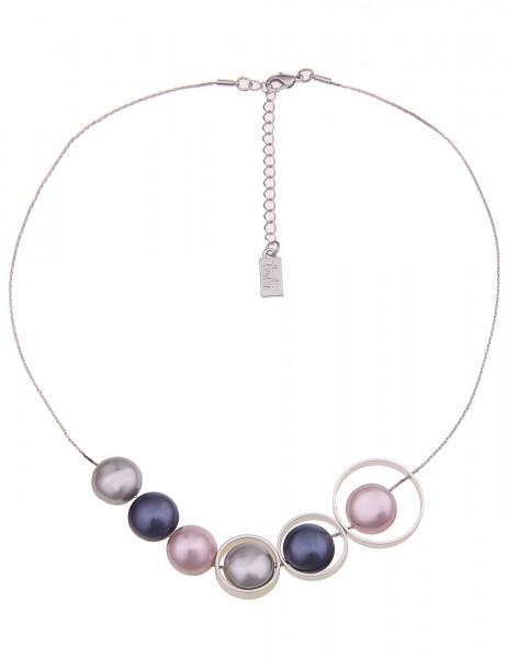 Leslii Damenkette Perlen Ringen aus Metalllegierung Länge 47cm in Silber Grau Blau Rosa