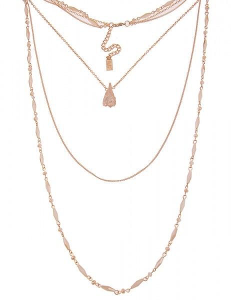 Leslii Damen-Kette Glasperlen-Look Gold Beige Stein Metalllegierung 90cm + Verlängerung 220115696