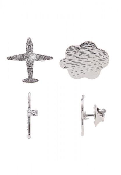 -70% SALE Leslii Damenbrosche Pin Anstecker Flugzeug Wolke aus Metalllegierung mit Strass 2er Set in