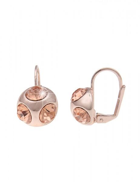 -70% SALE Leslii Damen-Ohrringe Ohrhänger Glitzer Kugel Rosé Metalllegierung Glassteine 2cm 23011472