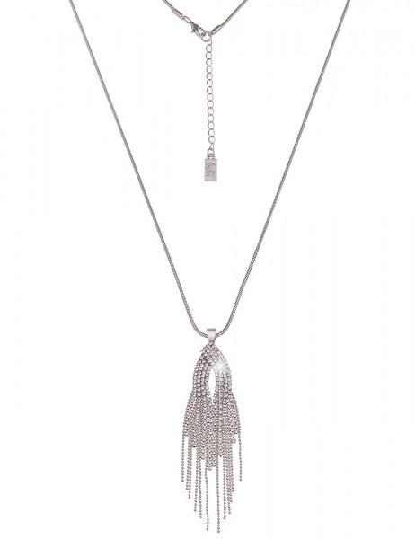Leslii Damenkette Glanzvoll aus Metalllegierung mit Strass Länge 84cm in Silber Weiß