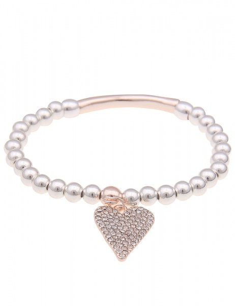 Leslii Damenarmband Strass-Herz Herzarmband Liebe Armschmuck Modeschmuck-Armband Länge 19cm in Rosé