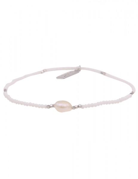 Leslii Damen-Armband Perlen-Armband Filigran weiße Zuchtperle weißes Modeschmuck-Armband Armschmuck