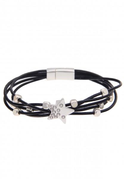 -50% SALE Leslii Damen-Armband Glitzer Stern Schwarz Silber Metalllegierung Lederimitat 19cm mit Mag