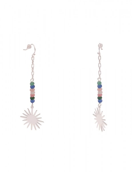 Leslii Damen-Ohrringe lange Ohrhänger Natur-Steine Sonnen-Anhänger Sonne silberne Modeschmuck-Ohrrin