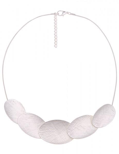 Leslii Damenkette Collier Oval Look aus Metalllegierung Länge 43cm in Silber Matt