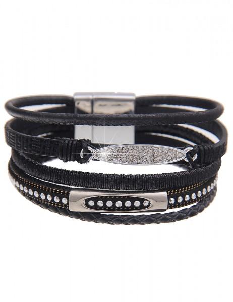 Leslii Damenarmband Glanz Look aus Lederimitat mit Strass 19cm mit Magnet-Verschluss in Schwarz