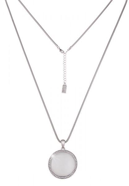 Leslii Glitzer Cateye Silber | Trendige lange Kette | Damen Mode-Schmuck | 84cm + Verlängerung
