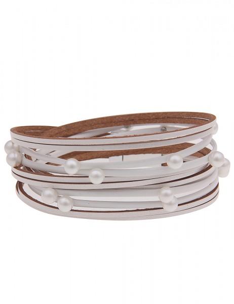 Leslii Damen Wickel-Armband Perlentaucher aus Lederimitat mit Kunstperlen Länge 39cm in Silber Weiß