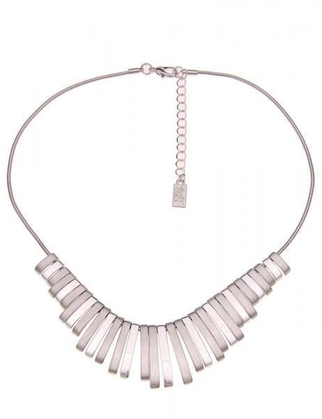 Leslii Damenkette Premium Halskette Stäbe Collier kurze Modeschmuck-Kette Länge 45cm in Silber Hochg