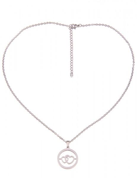 Leslii Damenkette Herz Ring aus Metalllegierung Hochglanz Länge 42cm in Silber