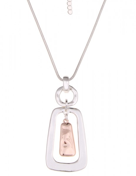 Leslii Halskette Glanz-Anhänger Rosé Silber   lange Damen-Kette Mode-Schmuck   86cm + Verlängerung