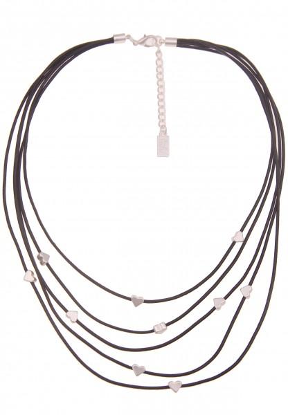 Leslii Damenkette Layering Herz-Kette Statement Leder-Kette kurze Halskette schwarze Modeschmuck-Ket