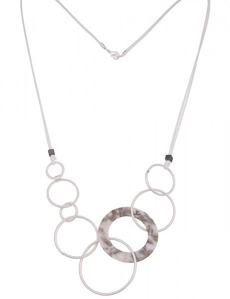 Leslii Damenkette City Look aus Textil mit Kunststoff Länge 80cm in Weiß Grau Silber