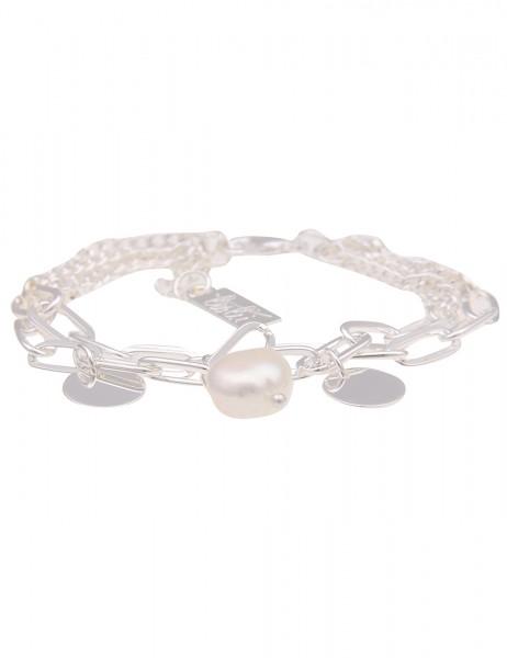 Leslii Damen-Armband Glieder-Armband weißes Perlen-Armband Statement silbernes Modeschmuck-Armband
