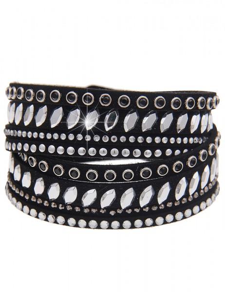 -70% SALE Leslii Wickel-Armband Glitzer Oval Schwarz | Damen-Armband Mode-Schmuck | Länge: 40cm vers