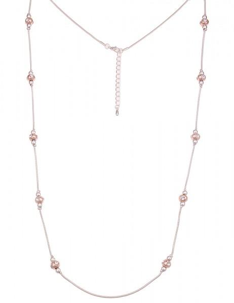 Leslii Damen-Kette Bicolor Kugeln Silber Rosé Metalllegierung Strass 100cm + Verlängerung 220116975