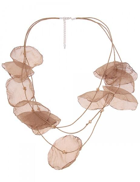 -50% SALE Leslii Damen-Kette Blüten-Blatt Braun Silber Textil-Stoff Glasperlen 64cm + Verlängerung 2