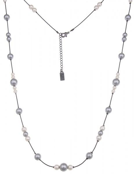 Leslii Perlenmix Weiß Grau | Trendige lange Kette | Damen Mode-Schmuck | 90cm + Verlängerung