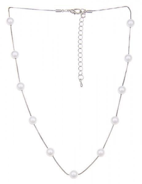 Leslii Damen-Kette Perlen Collier Metalllegierung Kunstperlen 42cm + Verlängerung Silber Weiß 210117