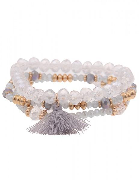 Leslii Damen-Armband 3er Set Statement-Armband Quaste Tassel Troddel Glasperlen graues Modeschmuck-A