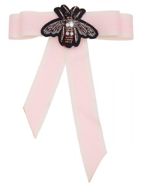Leslii 4teen Brosche Nachtfalter Schleife aus Textil mit Strass Größe 18cm x 13,5cm in Rosa