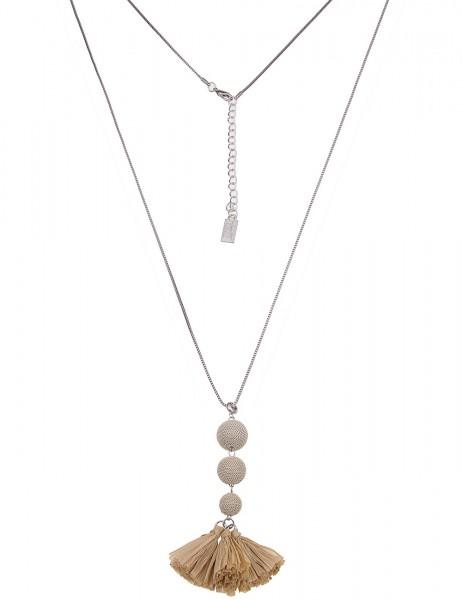 Leslii Damenkette Bast Bommel aus Metalllegierung Länge 80cm in Beige Silber