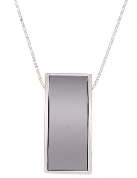 Leslii Halskette Matt-Swing Grau Silber | lange Damen-Kette Mode-Schmuck | 90cm verstellbar