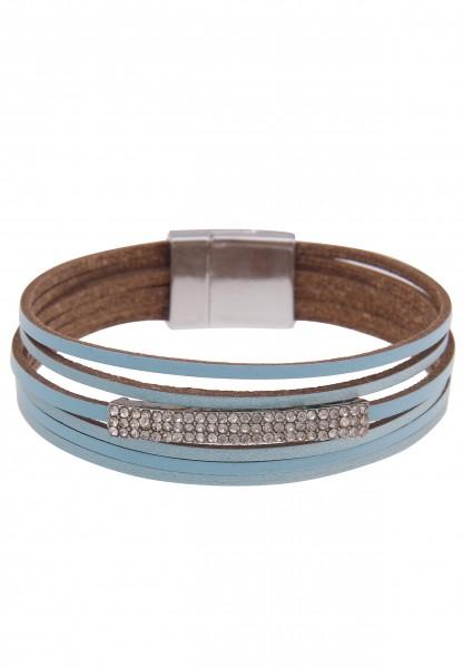 Leslii Damenarmband Fashion Glitzer veganes Lederarmband Strass Modeschmuck-Armband Länge 19cm in Bl