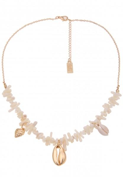 Leslii Damenkette Estefania Muschel-Kette Natur Muschelschmuck Halskette Modeschmuck Länge 45cm in G