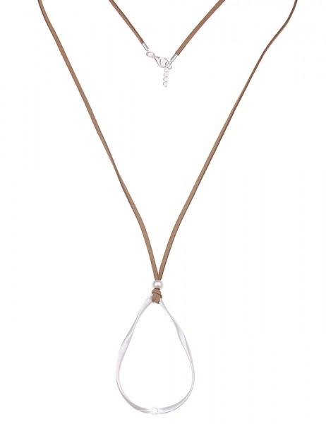 Leslii Damen-Kette Funkel-Tropfen Silber Braun Metalllegierung Lederimitat 80cm + Verlängerung 22011