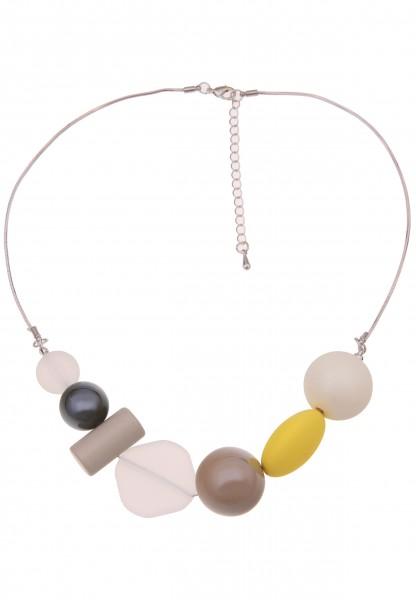 Leslii Damenkette Sommertanz Kugel-Anhänger Collier Halskette Modeschmuck-Kette Länge 50cm in Weiß G