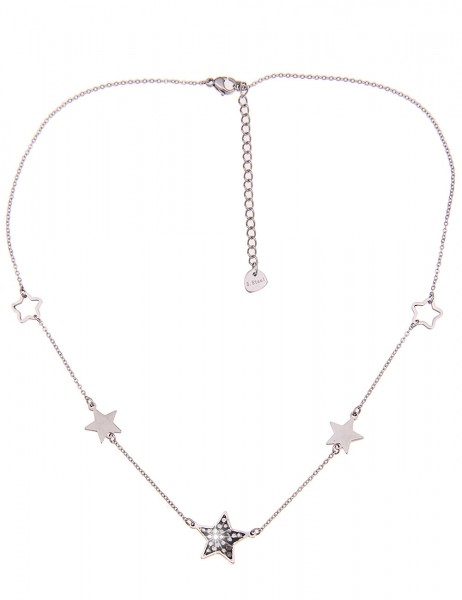 Leslii Damen-Kette Stern-Kette Strass Glitzer Collier silberne Edelstahl-Kette in Silber Grau
