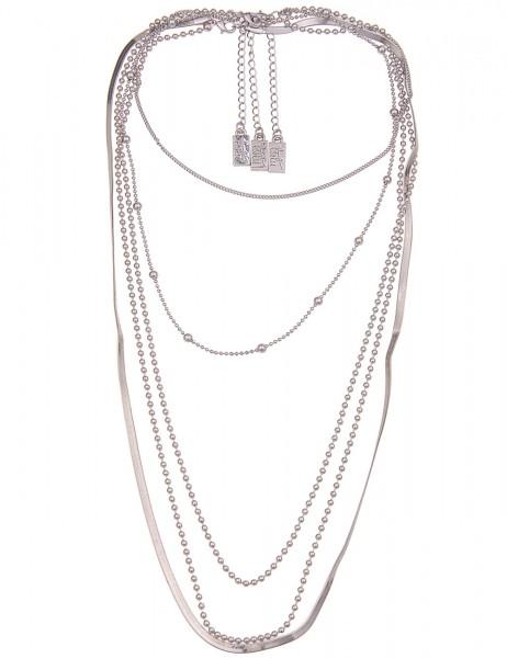 Leslii Damen-Kette Layering Layer-Kette 3er-Set Statement-Kette lange Halskette silberne Modeschmuck