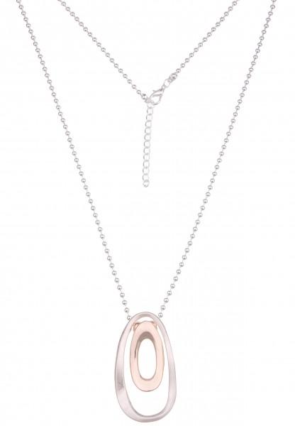 Leslii Damen-Kette Bicolor-Kette Oval-Anhänger Kugel-Kette lange Halskette silberne Modeschmuck-Kett