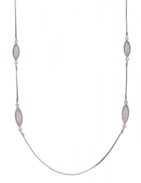 -50% SALE Leslii Halskette Rosen-Look Silber | lange Damen-Kette Mode-Schmuck | 93cm + Verlängerung