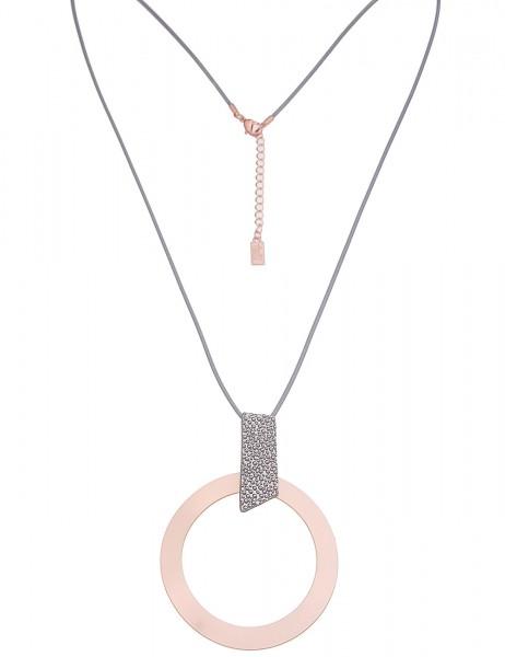 Leslii Damenkette Big Ring aus Textil mit Metalllegierung Länge 81cm in Rosé Grau Matt
