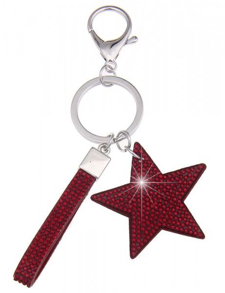 -70% SALE Leslii Schlüssel-Anhänger Glitzer Stern Rot | Trendiger Taschen-Anhänger Mode-Schmuck | Lä