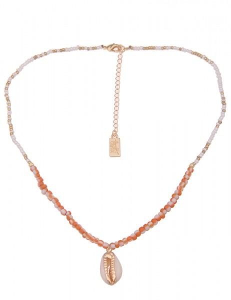 Kurze Halskette mit Muschelanhänger in Gold/Orange/Weiß