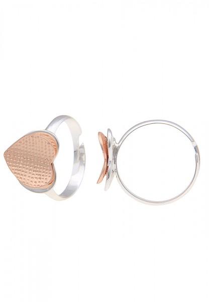 -50% SALE Leslii Damen-Ring Romance Herz Silber Rosé Metalllegierung Größe verstellbar 250115682