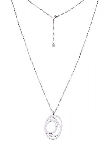 -50% SALE Leslii Damenkette Muster-Oval aus Edelstahl Länge 83cm + Verlängerung in Silber